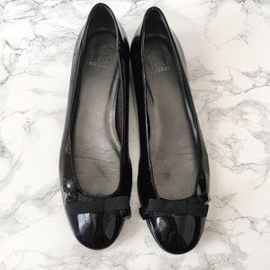 Stuart Weitzman Black Patent Bow Ballerina Flats